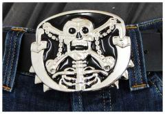 Gürtelschnalle Skull & Swords