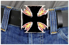 Belt Buckle Burning Iron Cross