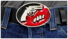 Belt Buckle Black and Red Gun