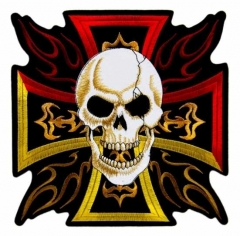 Embroidered Patch - Burning Iron Cross with Skull