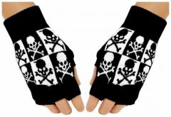 Fingerlose Handschuhe B&W Skulls