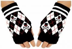 Fingerlose Handschuhe Red Skulls
