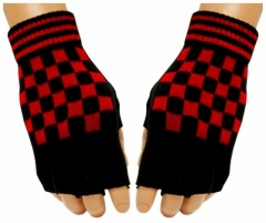Fingerlose Handschuhe Red Chess Pattern