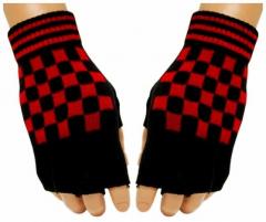 Fingerlose Handschuhe Red Chess Pattern