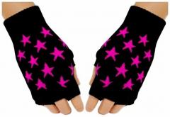 Fingerlose Handschuhe Pink Stars