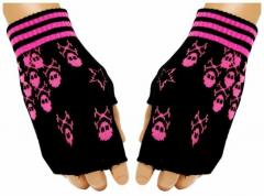 Fingerlose Handschuhe Pink Skulls