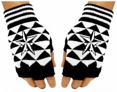 Fingerless Gloves White Star