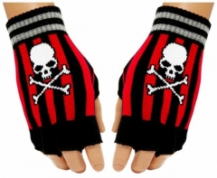 Fingerlose Handschuhe Red Stripes Totenkopf