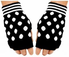 Fingerlose Handschuhe White Polka Dots