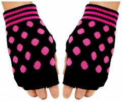 Fingerlose Handschuhe Pink Polka Dots