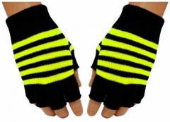 Fingerless Gloves Neon Yellow Stripes