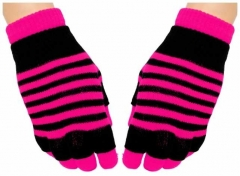 2in1 Handschuhe Neon Pink Stripes