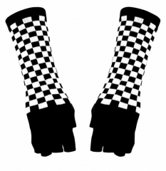 Arm sleeves with Black White Chess pattern