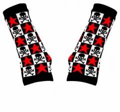 Handstulpen mit Sterne Totenkopf Motiv