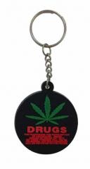 Cannabis Drugs Schwarz Schlüsselanhänger aus Gummi