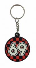 69 Schwarz Rot Schlüsselanhänger aus Gummi
