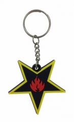 Stern & Flammen Schlüsselanhänger aus Gummi