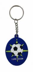 I love Soccer Blau Schlüsselanhänger aus Gummi
