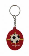 I love Soccer Rot Schlüsselanhänger aus Gummi