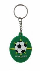 I love Soccer Grün Schlüsselanhänger aus Gummi