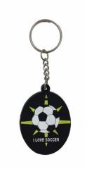 I love Soccer Schwarz Schlüsselanhänger aus Gummi