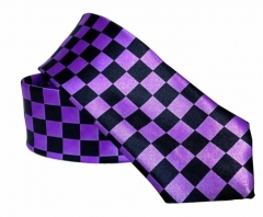 Black tie with Check Pattern Purple