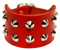 2-Reihiges Spitznieten Armband Rot