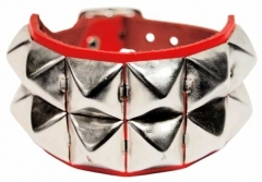 2 Reihen Pyramidennieten Armband Rot