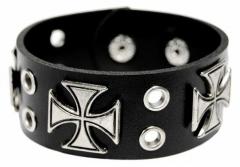 Armband Schwarz Kreuznieten