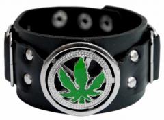 Armband Schwarz mit Hanfsymbol