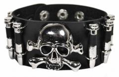 Armband Schwarz mit Totenkopf und Patronen