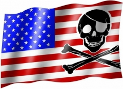 USA & Pirate Skull - Fahne