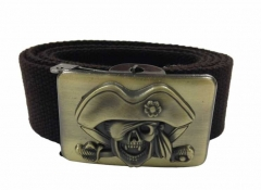 Brauner Canvasgürtel Piratentotenkopf