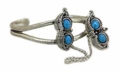 Armspange Blau mit Federn