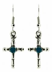 Blauer Stein Kreuz Ohrringe