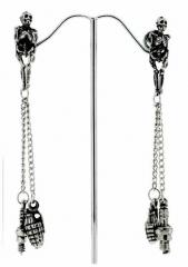 Granaten Ohrringe Skelettkörper