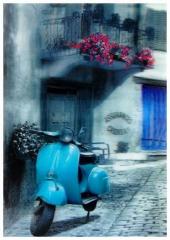 3D Poster Retro Roller Blau