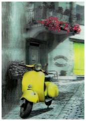 3D Poster Retro Roller Gelb