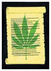 Posterfahne Cannabis on Perchment
