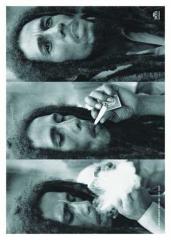 Posterfahne Bob Marley Smoke