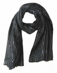 Cotton Polyester Scarf Black & Silver