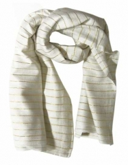 Cotton Polyester Scarf White & Gold