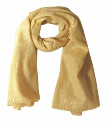 Cotton Polyester Scarf Beige & Silver