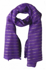 Cotton Polyester Scarf Violet & Gold