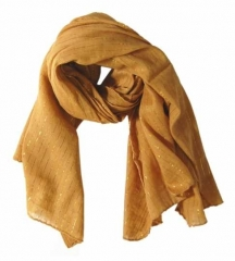 Cotton Polyester Scarf Brown & Gold