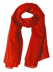 Cotton Polyester Scarf Red & Gold