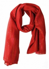 Cotton Polyester Scarf Red & Multi