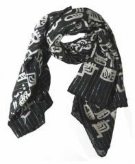 Cotton Polyester Scarf Black & White