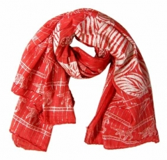 Cotton Polyester Scarf Red & Silver
