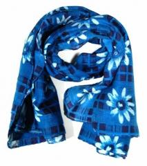 Bedrucktes Halstuch Blumenmuster Blau